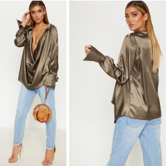 b9643c8dbae1be PrettyLittleThing Tops | Pretty Little Thing Cowl Longline Olive Top ...